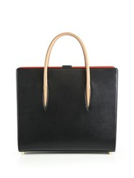 Christian Louboutin Paloma Two Tone Leather Tote Black Beige