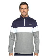 Puma Pwrwarm 1 4 Zip Popover Medium Gray Heather Peacoat Men's Sweatshirt