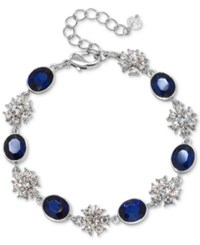 Jewel Badgley Mischka Silver Tone Crystal And Colored Stone Link Bracelet