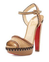 Christian Louboutin Trepi Leather 140Mm Red Sole Sandal Hazelnut Noisette
