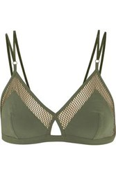 Elle Macpherson Mesh Trimmed Stretch Jersey Soft Cup Triangle Bra Army Green
