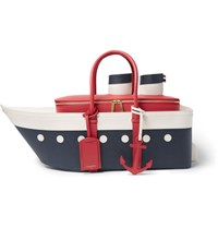 Thom Browne Cruise Liner Pebble Grain Leather Bag Blue