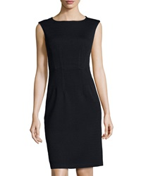St. John Cap Sleeve Knit Sheath Dress Onyx