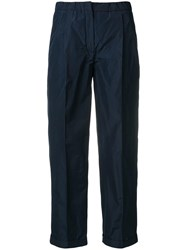 Odeeh Cropped Tailored Trousers Blue