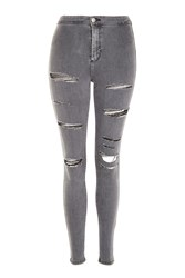 Topshop Moto Grey Super Ripped Joni Jeans Grey