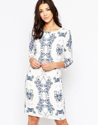 Ichi Kaledoscope Print 3 4 Sleeve Shift Dress Blue