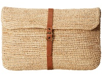 Hat Attack Raffia Crochet Clutch Natural Leather Belt Clutch Handbags Beige