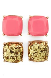 Women's Bp. Square Stud Earrings Set Of 2 Pink Gold