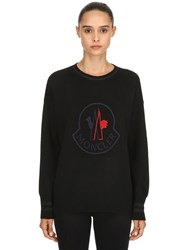 Moncler Logo Wool And Cashmere Knit Sweater Black