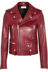 Saint Laurent Leather Biker Jacket Claret