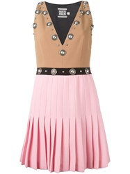 Fausto Puglisi Colour Block Studded Dress Nude And Neutrals