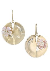 Annette Ferdinandsen Flora Mother Of Pearl And 14K Yellow Gold Lily Pad Earrings