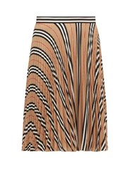 Burberry Rorsby Icon Stripe Pleated Skirt Beige Multi