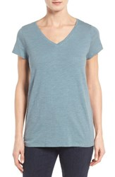 Eileen Fisher Women's Organic Cotton V Neck Tee Blue Steel