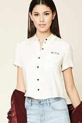 Forever 21 Off Limits Graphic Shirt Cream Black