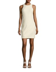 Belle By Badgley Mischka Metallic Jacquard Sheath Dress Ivory Gold