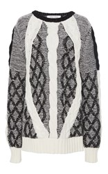 Prabal Gurung Cable Crewneck Knit Black White