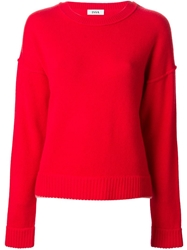 Issa Thin Pink Trimming Sweater Red