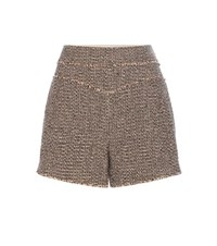 Chloe Wool Blend Tweed Shorts Brown