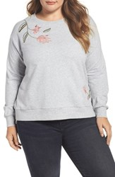 Vince Camuto Plus Size Two By Embroidered Sweatshirt Grey Heather