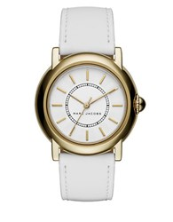 Marc Jacobs Stainless Steel And Leather Textured Dial Strap Watch Mj1449 White