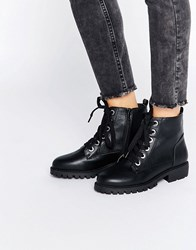 London Rebel Grosgrain Lace Up Boots Black Pu