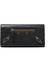 Balenciaga Classic Money Studded Textured Leather Wallet Black