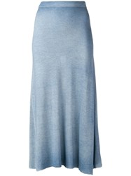 Avant Toi Flared Knit Skirt Blue