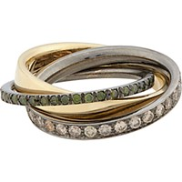 Roberto Marroni Women's Mixed Diamond Yellow Gold And Oxidized White Gold Triple Ring No Color