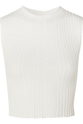 Dion Lee Cropped Ribbed Knit Tank Ivory