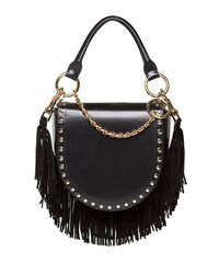 Sacai Leather Coin Bag W Fringe Chain Strap Black