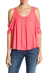 Lush Cold Shoulder Ruffle Tee Pink