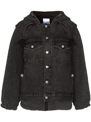 Sjyp Hooded Sherpa Denim Jacket Black