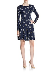 French Connection Eddy Floral Print Mesh Inset Dress Nocturnal