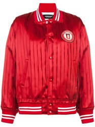 Undercover Pleated Bomber Jacket Red