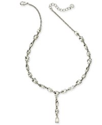Charter Club Silver Tone Crystal Lariat Necklace 17 2 Extender Lt Rhod Cr