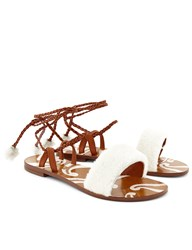 Avec Moderation White Shearling Ankle Strap Sandals