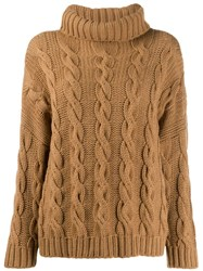 Liska Turtleneck Cable Knit Jumper Brown