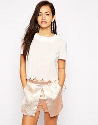 Fashion Union Crop Top With Scallop Trim