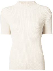 A.P.C. Ribbed Turtleneck Sweater Women Cotton Linen Flax L White