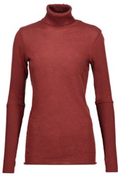 Enza Costa Cotton And Cashmere Blend Turtleneck Sweater Burgundy