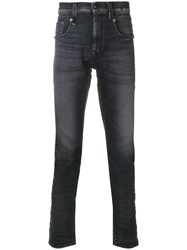 R 13 R13 Faded Jeans Cotton Polyester Spandex Elastane Black