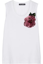 Dolce And Gabbana Sequin Embellished Cotton Jersey Tank White