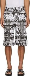 Ktz White And Black Jersey Greek Print Shorts