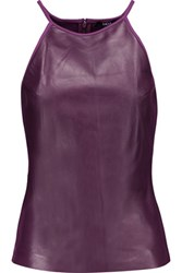 Raoul Leather And Stretch Ponte Tank Purple