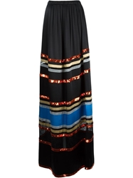 Givenchy Striped Full Length Skirt Black
