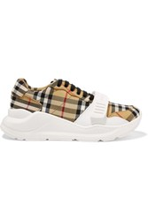 Burberry Checked Canvas Sneakers Beige