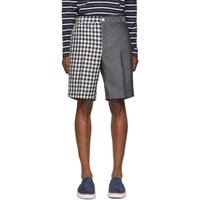 Thom Browne Navy And Grey Gingham Funmix Shorts