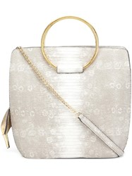 Christian Siriano Snakeskin Effect Tote Nude Neutrals