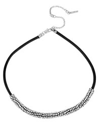 Kenneth Cole Silvertone Seed Bead And Leather Necklace Black Silver